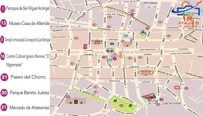 Mapa Tour a San Miguel Allende Desde Queretaro